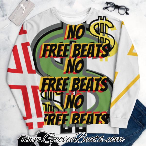 Green Dollar Sign No Free Beats Multi Artwork Unisex Art Sweatshirt
