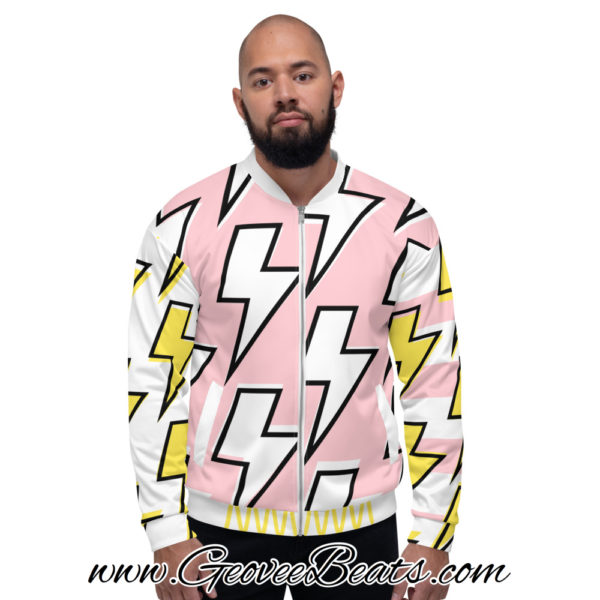 white and pink Lightning strike bomber jacket