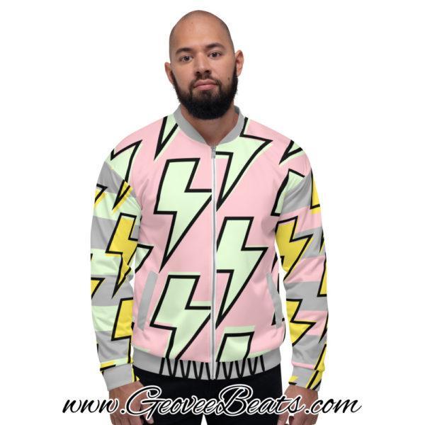 light neon green and pink Lightning strike bomber jacket