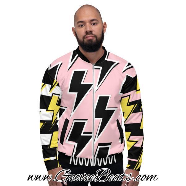 black and pink Lightning strike bomber jacket